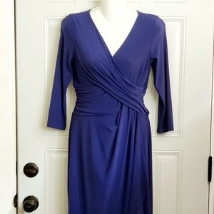 CHAPS blue dress ruched M stretch